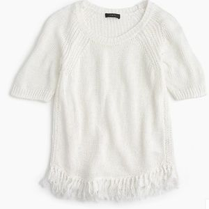 J Crew Fringy Sweater Linen Short Sleeve Linen M
